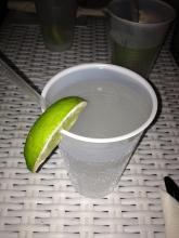 cup of water with a lemon slice at Sandbar picture